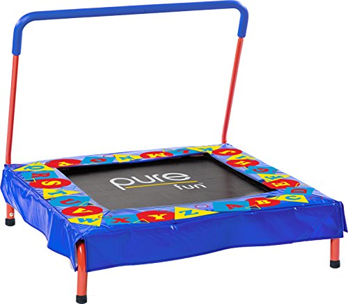 "Pure Fun Kids Preschool Jumper: 36"" Mini Trampoline Handrail, Youth Ages 3 to 7"