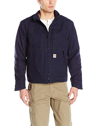 Carhartt Men's Flame Resistant Full Swing Quick Duck Jacket, Dark Navy Large