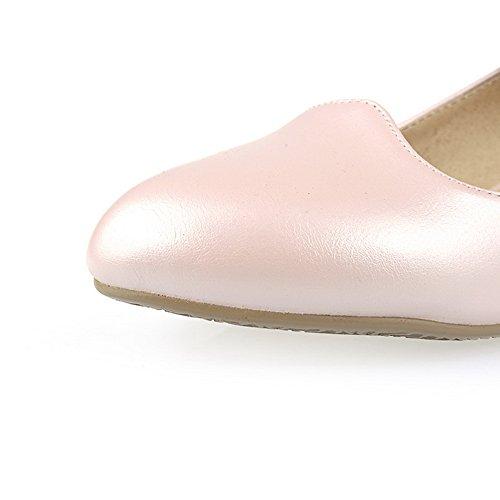 Balamasa Femmes Talons Bas À Boucle Ronde Diamant Verre Givré Pompes-chaussures Rose