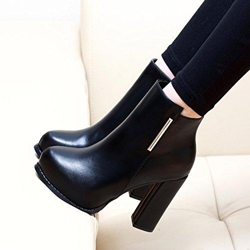 Wind Tabelle Britische Von Schuhe Single Frauen black Winter Herbst KHSKX Martin Heels Stiefel Neue Stiefel Und Wasserdichte Haben Kurze Kurze Boot 6qOFzBwxFE