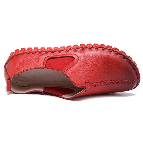 Plat Glisser Baskets Femmes Cuir Joli Rouge Sur Décontractée Shenn Chaussures wAUtq
