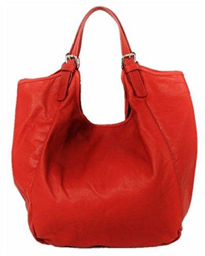 SUPERFLYBAGS Borsa Sacca Shopper In Vera Pelle Morbida modello Costanza Made In Italy rosso