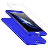 HUAWEI P10 case 360 Degree Protection Blue Matte Ultra Slim Cover PC Hard Case Body Protection Scratchproof Cover 3 in 1.DECHYI case -Blue