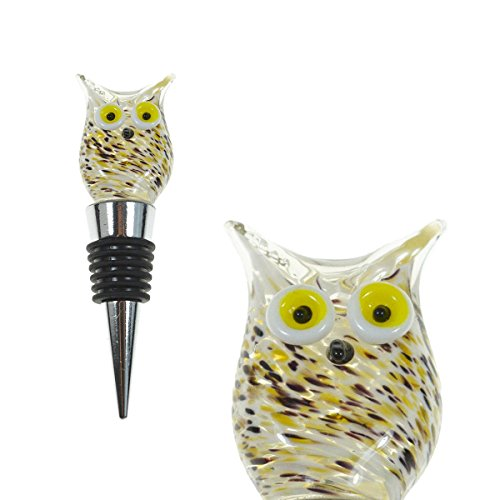 PrestigeHaus Glass Owl Wine Bottle Stopper - Decorative, Colorful, Unique, Handmade, Eye-Catching Glass Wine Stoppers - Wine Accessories Gift for Host/Hostess - Wine Corker/Sealer