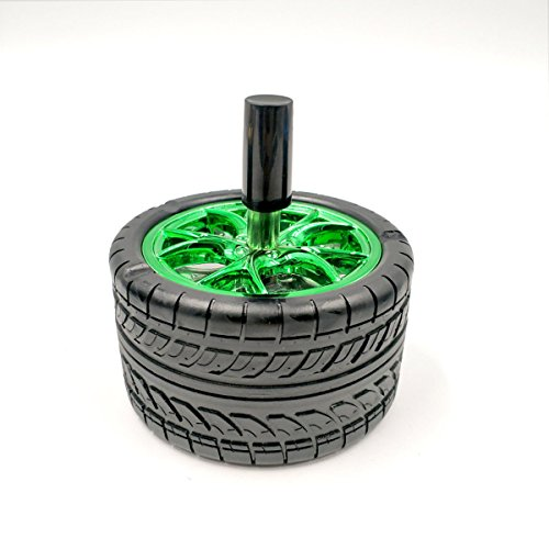 SSBY Creativity Car Tires Ashtray Pressed Rotary Ashtray Fashion Home Appliances Personalized Tires Ashtray 10Cm Green