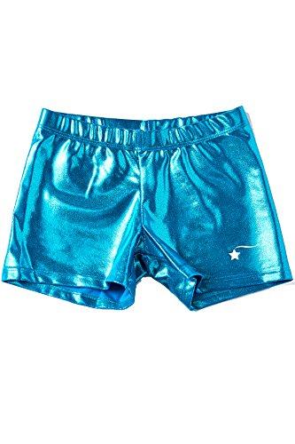 0020011dc13f DESTIRA Turq Mystique Gymnastics Sport Shorts for Girls, Child XS/Size 5