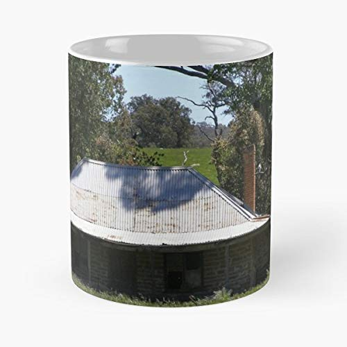 Derelict Now Old Stone Cottage Tall Brick Chimney Patched Pitched Roof - White -coffee Mug- Unique Birthday Gift-the Best Gift For Holidays- 11 -