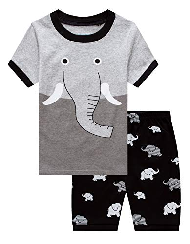 Family Feeling Little Boys Elephant Pajamas Short Sets 100% Cotton Kid Summer Pjs -