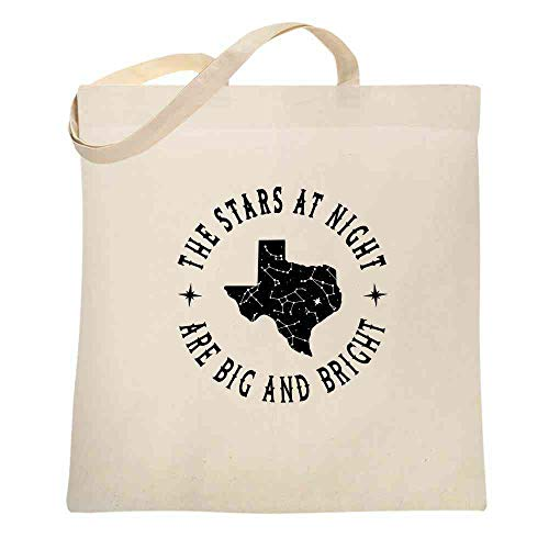 Texas Stars at Night are Big and Bright Song Natural 15x15 inches Canvas Tote Bag