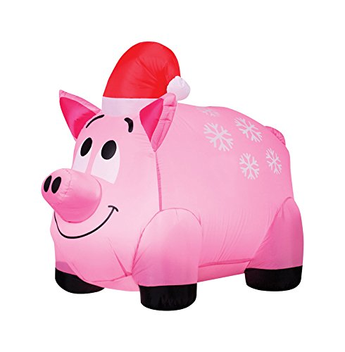 Gemmy Industries Snowflakes and Pig Christmas Inflatable Fabric 48 in. x 8-7/16 in. x 9-7/8 in.