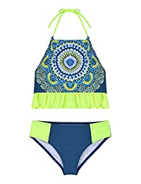 Hilor Girl's Bikini Swimsuits Ruffle Flounce Two Piece Beach Swimwear Tankini Set