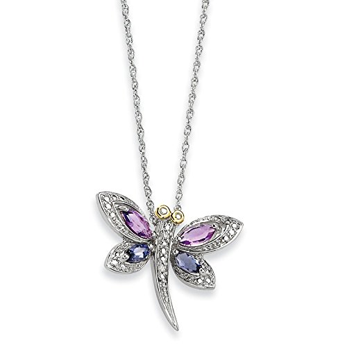 (Mia Diamonds 925 Sterling Silver Solid (0.01cttw) and Amethyst and Iolite and Diamond Dragonfly Necklace -17