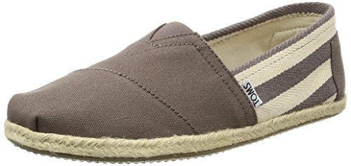 TOMS Men's Classic Canvas Dark Grey Stripe Ankle-High Flat Shoe - - Stripe Canvas Grey