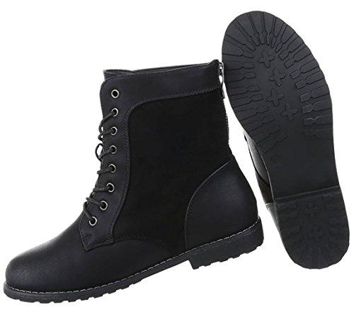 Damen Schuhe Stiefeletten Schnürer Boots Used Optik Schwarz ... b1148585aa