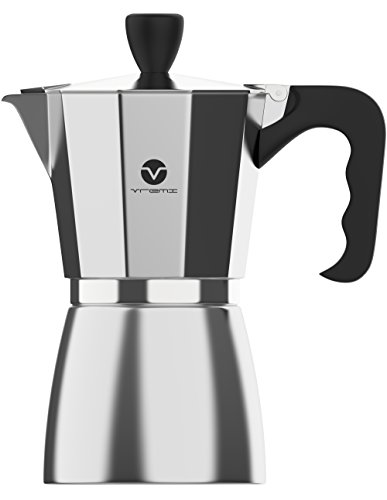 Vremi Stovetop Espresso Maker - Moka Pot Coffee Maker for Gas or Electric Stove Top - 6 Cups Demitasse Espresso Shot Maker for Italian Espresso Cappuccino or Latte - Silver by Vremi