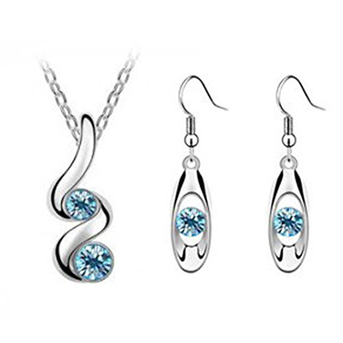 (Luxury Necklace,Han Shi Princess Bridesmaid Romantic Wedding Jewelry Set Chian Earrings (Blue, L))