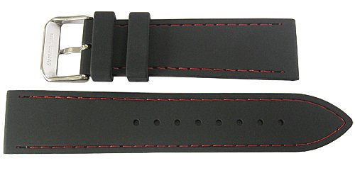 Fluco 22mm Black Silicone Rubber Red-Stitch Watch Strap