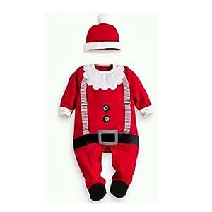 Xinantime - Trajes de ropa de bebé Boy Girl Kids Romper Hat Cap Set regalo de Navidad para 0-24 meses (0-6 meses, Rojo)