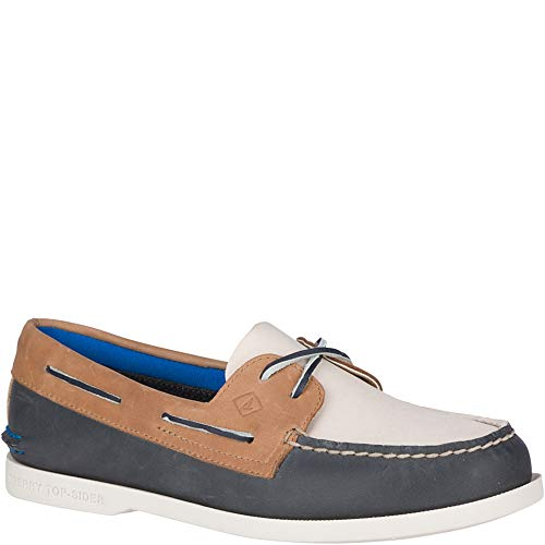 (Sperry Top-Sider Authentic Original Plush Boat Shoe Women 7.5 Navy/Tan)