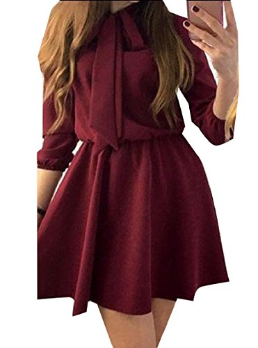 Long Bow Dress Tunic Wine Women Red Short Coolred Sleeve Color Pure Wid Swing qIvwaA