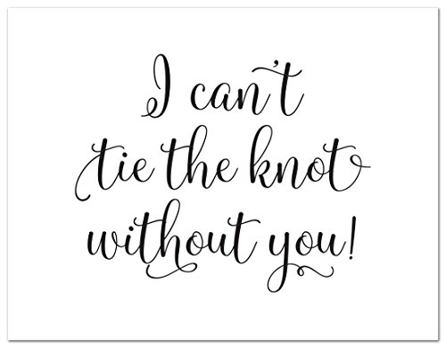 12cnt Will You Be My Bridesmaid Cards I Can't Tie the Knot Without You (Black)