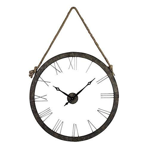 Sterling 26-8643 Metal/Glass Leona Wall Clock, 26-Inch, Rustic Iron/Silver - Elk Rustic Clock