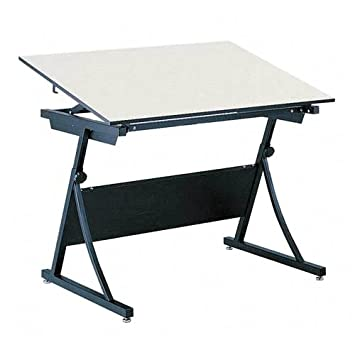 Safco 39573951KIT Planmaster Height-Adjustable Drafting Table - 48 Wide White Melamine Top - Heavy Du