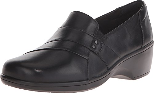 Clarks Women's May Marigold Slip-On Loafer, Black Leather, 9 M US