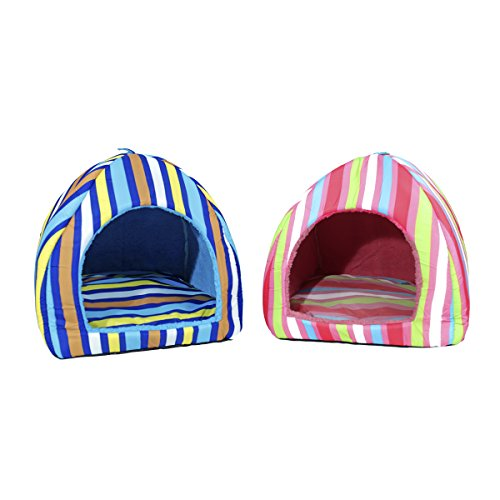Colorful Stripes Plush Dome Dog Bed Soft Igloo Cat Tent Snooze Pad & Toy For Cats & Dogs Warm Pet House Blue Small (10.6'' x 10.6'' x H11.0'') by American Trends (Image #3)