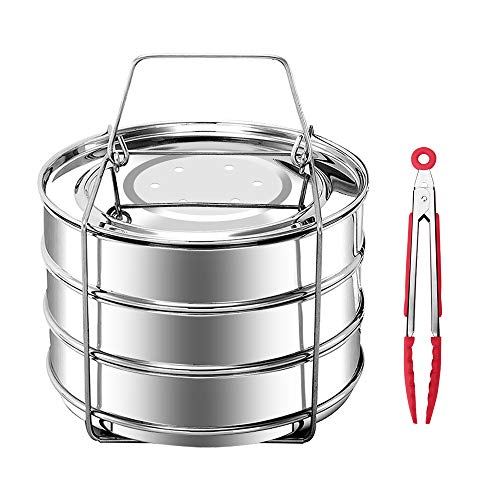 KINDEN Pressure Cooker Accessories Stackable Stainless Steel 3 Tier Insert Pans Pot for 5,6,8QT with Food Tong (3 Tier Steamer Stainless Steel)