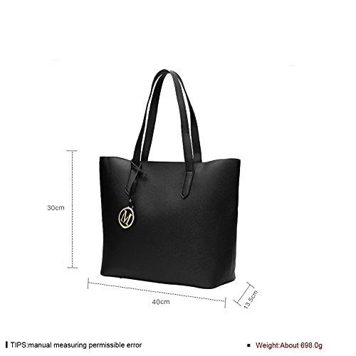 Faysting EU set borse con piccola borsa donna grande borsa a tracolla borsa a spalla fashion stile nero pelle buon regalo per san valentino