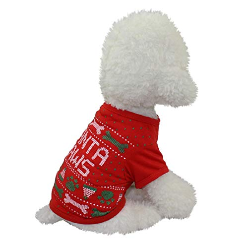 Christmas Pet Clothes, Duseedik Puppy Dog Cat Clothing Polyester T Shirt Puppy Costume -