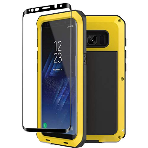 Galaxy S8 Case,Tomplus Armor Tank Aluminum Metal Shockproof Military Heavy Duty Protector Cover Hard Case for Samsung Galaxy S8 (Yellow)
