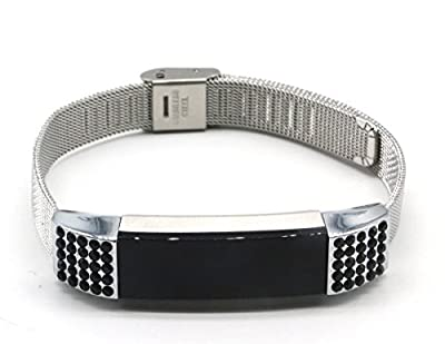 Women's fashion Stainless Steel Replacement Accessory Mesh Band/ Metal Wristband Bracelet Strap with Black Bling Crystal Rhinestones for Fitbit Alta Fitness Tracker, Small