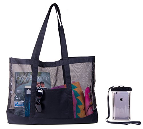Price comparison product image Extra Large Family Mesh Beach Tote Bag w/ Waterproof Phone Case (Black)