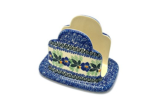 Polish Pottery Napkin Holder - Blue Pansy