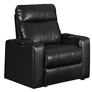 Row One Plaza 2 Arm Power Recliner In Black Bonded Leather