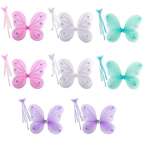 kilofly 8 Sets Princess Fairy Wings Butterfly Angel Costume Dress Up Role Play ()