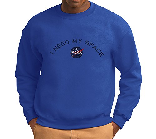 Men's NASA I NEED MY SPACE Insignia Embroidered Crewneck Sweatshirt - Royal - L (Embroidered Gildan Sweatshirt)