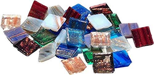 Mosaic Mercantile Mini Metallic Assorted Glass Tile, 1-Pound (Mosaic Metallic Tiles Mini)