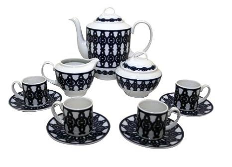 Santa Clara Aloia Breogán - Juego de café 12 servicios, 27 piezas: Amazon.es: Hogar