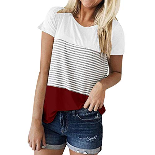 (Tri-Color Striped T-Shirt Ladies Short-Sleeved Stitching Round Neck top Casual Summer Fashion Wild Shirt MEEYA Wine)