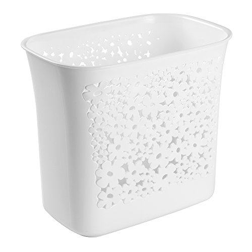 mDesign Decorative Slim Rectangular Floral Small Trash Can Wastebasket, Garbage Container Bin for Bathroom, Powder Room, Bedroom, Kitchen, Kids Rooms, Craft Room, Office - Floral Design, White by mDesign