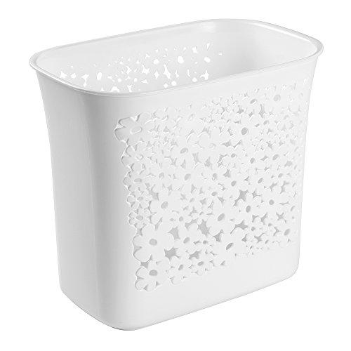 Kids Wastebaskets (mDesign Decorative Slim Rectangular Floral Small Trash Can Wastebasket, Garbage Container Bin for Bathroom, Powder Room, Bedroom, Kitchen, Kids Rooms, Craft Room, Office - Floral Design, White)