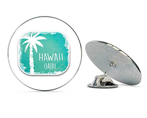 Oahu Hawaii USA Flag Round Metal 0.75