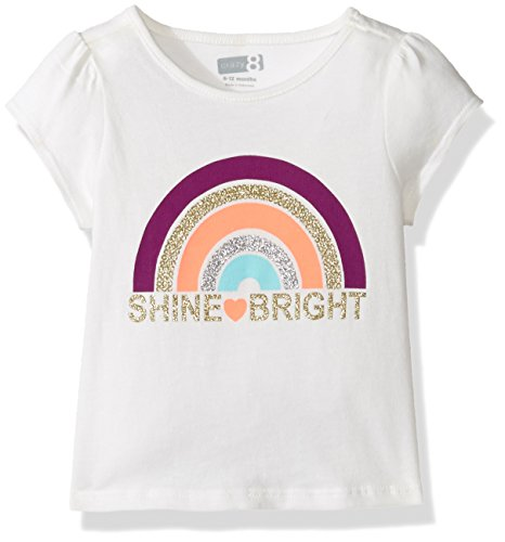 Crazy 8 Baby Girls' Toddler Special Li'l Screen Tee, Rainbow Jet Ivory, 3Y