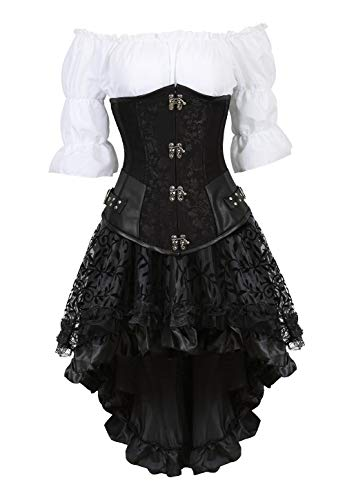 Grebrafan Steel Boned Underbust Corset with Skirt Blouse 3 Piece Outfits for Women (US(8-10) L, Black) -