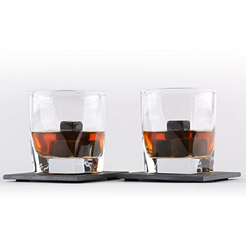 Whiskey Stones Gift Set by Royal Reserve   Husband Birthday Gifts Artisan Crafted Chilling Rocks Scotch Bourbon Glasses and Slate Table Coasters – Gift for Men Dad Boyfriend Anniversary or Retirement by Royal Reserve (Image #3)