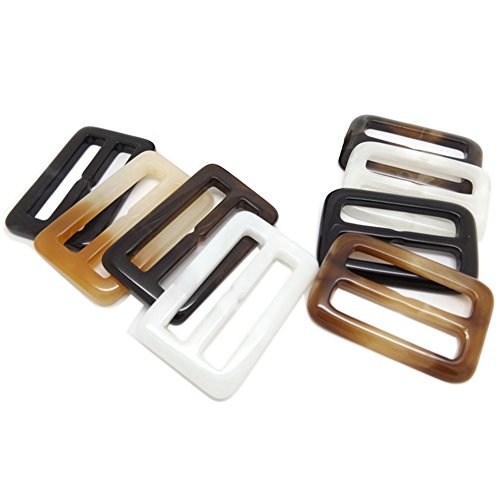 Price comparison product image HugeDE 6 Pcs Rectangle Plastic Scarf Clip Ring Scarf Slides T shirt Clips for Twilly Neckerchief