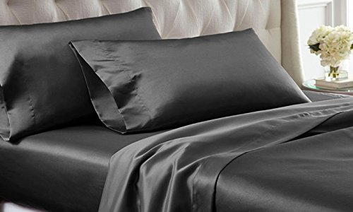 satin silk 4pc sheet sets 1000tc grey solid deep pocket fit up to 14